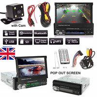"1 DIN Single 7""HD Touch Screen Car MP5 DVD Player Bluetooth Radio+Camera UK!"