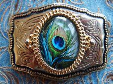 NEU Handarbeit Pfauenfeder Design Gürtelschnalle gold Metall, Western Cowboy