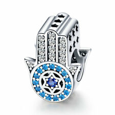 Hamsa Hand of Fatima Lucky Charm Solid 925 Sterling Silver Bead Pendant Jewelry