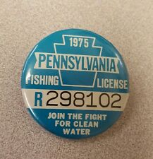 Vintage 1975 Pennsylvania Fishing License Pin, Vg