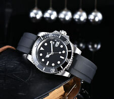 40MM Parnis black Sterile Dial SUB Mens Automatic Watch Mechanical Rubber Strap