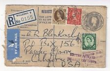 1955 Willesden England Registry Stationery Uprated Airmail to US POstage Due