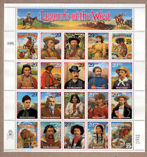 1993 LEGENDS OF THE WEST 29 CENT STAMPS UNCUT SHEET!