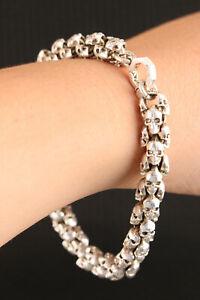 chinese tibetan miao silver hand cast  skull head statue fashion bracelet