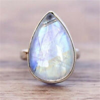 925 Silver Moonstone Women Jewelry Engagement Anniversary Gift Ring Happiness