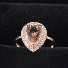 Natural Pear Cut Pink Morganite Diamond Halo Promise Ring Solid 14K Rose Gold