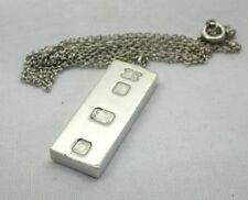 1970's Heavy Solid Silver Ingot Pendant And Chain