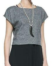 EILEEN FISHER Black Melanged Mesh Weave Silk Back S/S Cropped Box Top L NWT $178