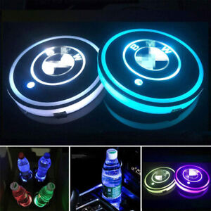2PCS LED Car Cup Holder Light Pad Switchable 7 Colors Changing Coaster for BMW