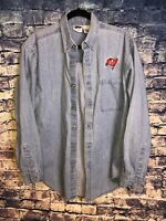 Denim Shirt Chambray Button Front Bucaneers Tampa Bay Bucs Size Medium Free Ship