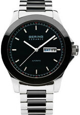 Bering Mens 31341-749 Ceramic Black Dial Silver Stainless Steel Band SS Watch