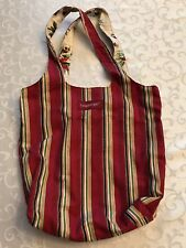 Longaberger Holiday Stripe/Botanical Reversible Tote- New in bag