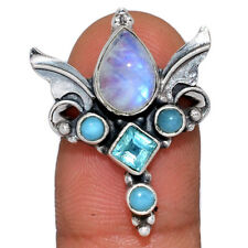 Angel Wings - Moonstone - India & Blue Topaz 925 Silver Ring s.5.5 AR160256