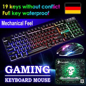 Gaming Tastatur Maus Set LED Beleuchten 2400DPI Maus Wie Mechanisch Tastatur USB