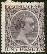 Spain 1889 King Alfonso X111 SG286 1Peseta Purple- High Cat Val - MH
