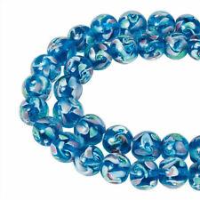 1strand Pearlized Handmade Inner Flower Lampwork Round Beads DodgerBlue 10mm