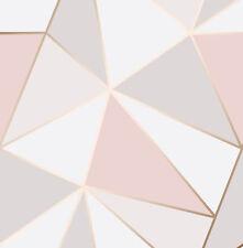 Papel Tapiz De Oro Rosa Geométrico Rosa 3D Apex Triángulo Moderno Metálico Fine Decor