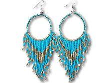 Turquoise Tribal Navajo Long Bead Dangle Hoop Earrings Proceeds to Animal Rescue