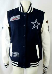 Dallas Cowboys Women M Varsity Jacket with Faux Leather Sleeves MSRP $130 COW 3