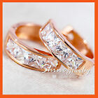 18K ROSE GOLD GF SQUARE HOOP HUGGIE WEDDING SIMULANT DIAMOND SOLID EARRINGS GIFT