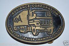 Vintage ALLIANCE Corporation Trucking Tractor-Trailer Training Brass Belt Buckle