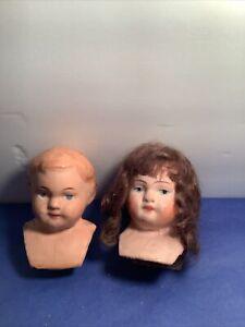 "Antique Doll  Heads / Boy And Girl / Papier Mache / Both 3"" L / 2""shoulders"