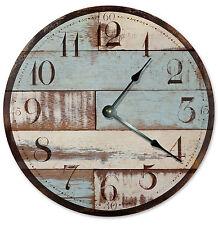 BLUE TAN WOOD RUSTIC CLOCK Large 10.5 inch Wall Clock, PRINTED WOOD LOOK - 2025