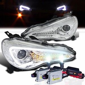 SCION FRS SpecD LED DRL Headlights (Chrome) + Fusion HID Kit (Japan Quality Kit)