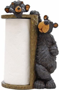 Willie Black Bear Paper Towel Holder Rack for Free Standing on Counter or Table