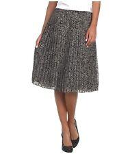 Jones New York Black-Multi Chiffon Leopard Pleated Skirt, Size 4R - MSRP $109