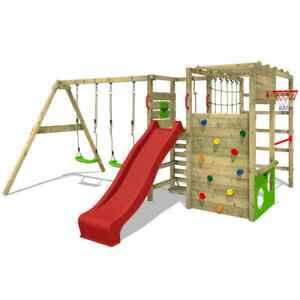 Wooden climbing frame FATMOOSE ActionArena - Swing set with red slide