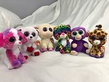 """lot of 6 TY Beanie Boo's with tags 6"""" Look At The Sparkling Soft Eyes"""