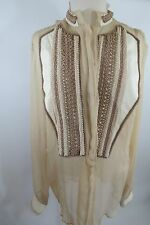 JUST  CAVLLI Cream Color leather Trim Long Sleeve Silk Blend Size   42W