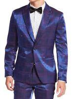 INC Mens Blazer Blue Purple Size M Iridescent Plaid Slim Fit Peak Lapel $149 287