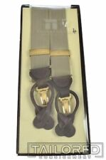 TRAFALGAR Solid Woven Beige Gold Snap Mens Luxury Braces Suspenders NWT