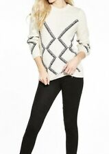 Whipstitch Detail Jumper. In Black/Ivory. Size 12. By Very.