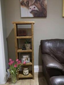 Reclaimed Rustic Scaffold Board Shelving Unit / Narrow Bookcase