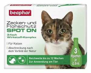 BEAPHAR 13848 Zecken- und Flohschutz SPOT-ON 3x0,8ml, für Katzen