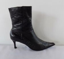 BERTIE WOMENS ANKLE BOOTS SIZE UK 7.5 EU 41 BLACK SOFT LEATHER