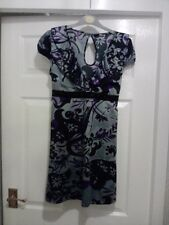 JANE NORMAN KIMONO STYLE PURPLE BLACK GREY TUNIC DRESS SIZE 8