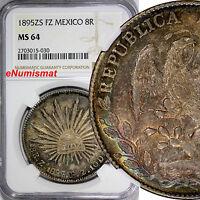 Mexico Silver 1895 ZS FZ 8 Reales NGC MS64 Zacatecas Rainbow Toned KM# 377.13