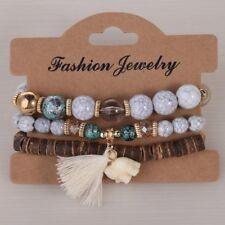 Boho Charm Elephant Colorful Jewelry Wood Beads Bangles Bracelets Multilayer