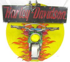 Harley Davidson 3D Metal Welded Art Wall Hanging Sign Motorcycle Burst Flames