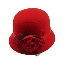 Hot Fashion Red Women Ladies Vintage Elegant Cloche Flower Rose Bucket Hat Cap