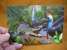 G110-1  3D Hartley Crocodile Adventures Cairns Cassowary bird Postcard Australia