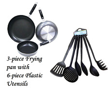 Frying Pan 3-Piece Set with 6-piece Kitchen Plastic Utensil