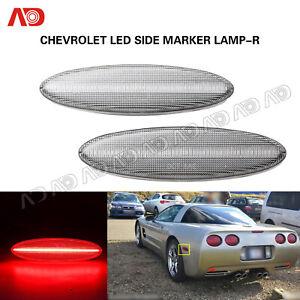 For Chevrolet Chevy Corvette C5 1997-2004 LED Side Marker Light Rear Red Lamp 2X