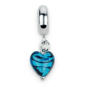 Blue Stripe Heart Murano Glass Dangle Bead .925 Sterling Silver Reflection Beads
