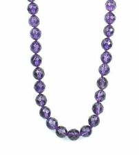 "Adjustable 8mm reconstituted amethyst faceted bead necklace 24""+  NKL250005"