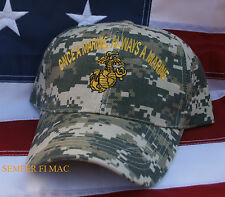 ONCE A MARINE ALWAYS A... HAT CAP US MARINES CAMOFLAUGE PIN UP GIFT FMF EGA WOW